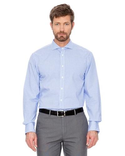 Cortefiel Camisa Cuadros Azul Marino / Blanco
