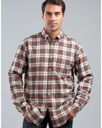 Cortefiel Camisa Cuadros Verde / Rojo / Crudo