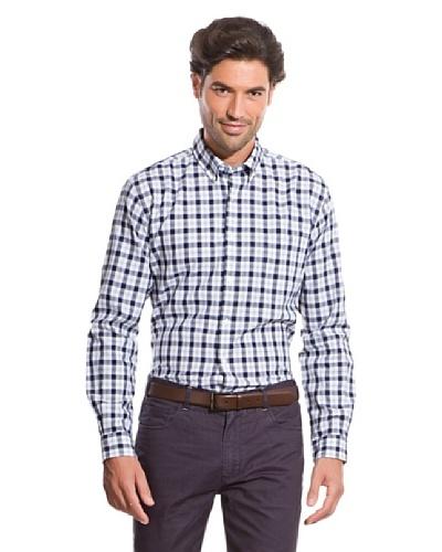 Cortefiel Camisa Oxford Abierto Azul Marino