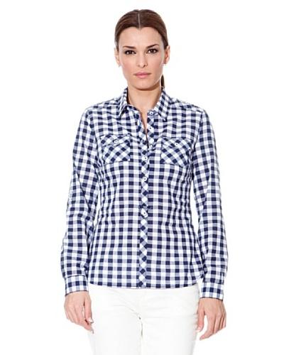 Cortefiel Camisa Cuadros Azul / Blanco
