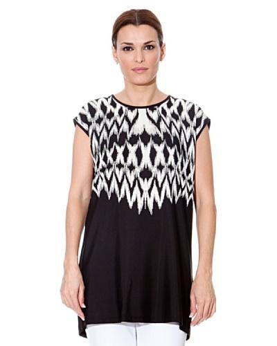 Cortefiel Camiseta Larga Negro / Blanco