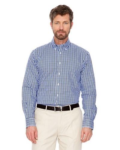 Cortefiel Camisa Cuadros Marino / Blanco