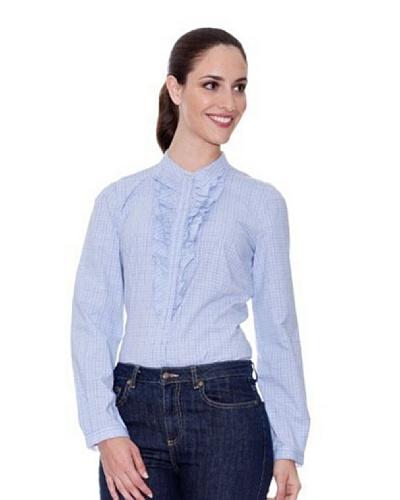 Cortefiel Camisa Volantes Azul