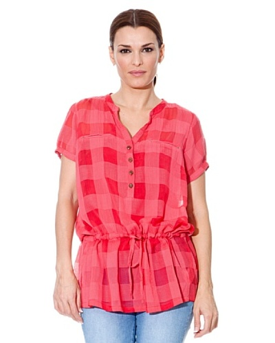 Cortefiel Blusón Cinturón Rojo / Rosa