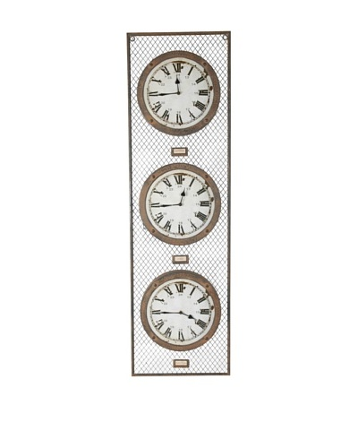 "Country Living Reloj triple ""Londres, París, Nueva Yorck"""