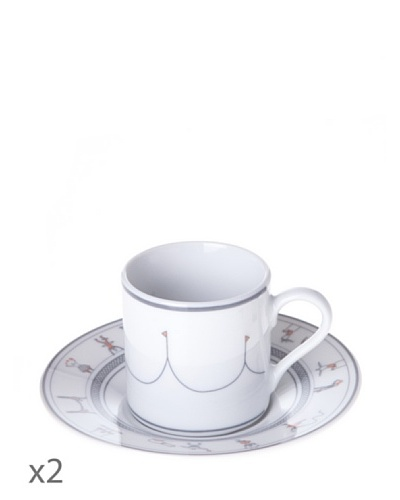Cristal De Sèvres Toujours Caja 2 Tazas Con Plato Café Cirque