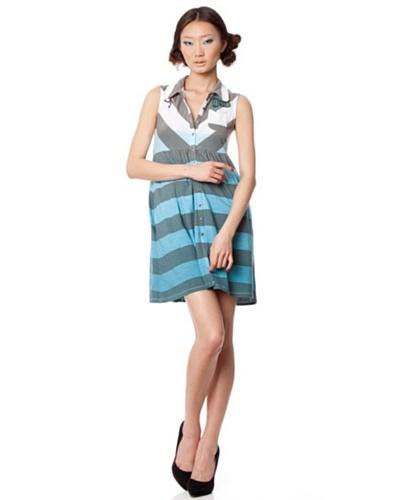 Custo Vestido Trao Azul / Gris
