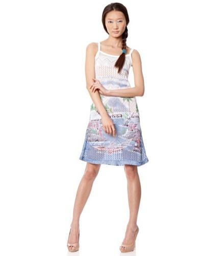 Custo Vestido Blanco / Azul