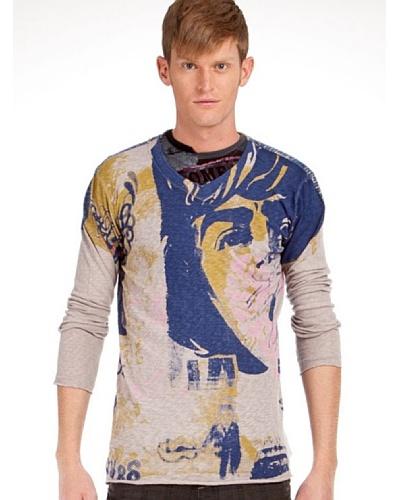 Custo Camiseta Gris / Azul