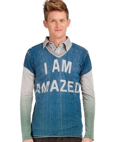 Custo Camiseta Azul / Gris / Verde