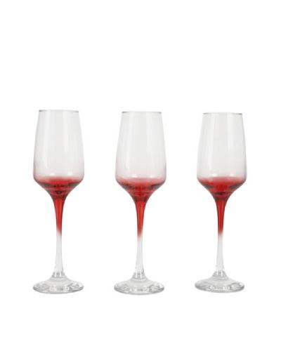 Delys-By-Verceral Set De 3 Copas Cava «Mod Lal» Color Rojas Sobre Fondo Transparente Con Pie