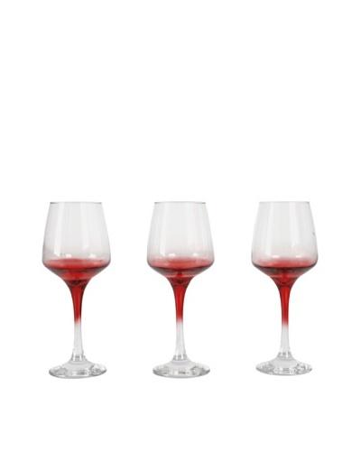 Delys-By-Verceral Set De 3 Copas Para Agua «Mod Lal» Color Rojas Sobre Fondo Transparente Con Pie