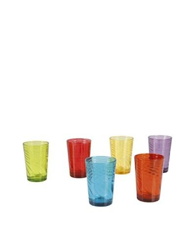 Delys-By-Verceral Set De 6 Vasos En 6 Colores Verde, Rojo, Azul, Amarillo, Violeta Y Naranja
