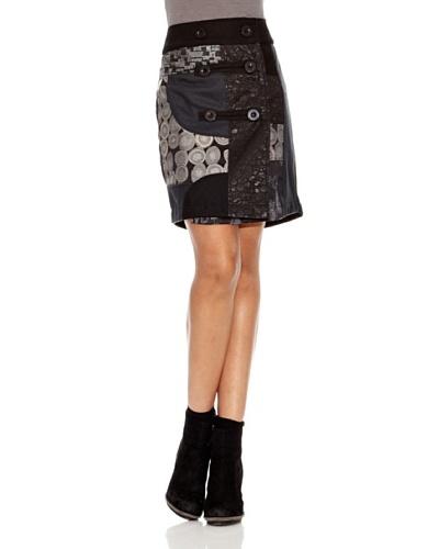 Desigual Falda Serie Botones Negro Estampado