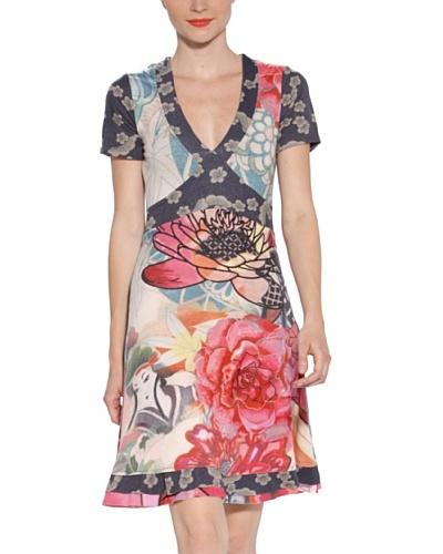 Desigual Vestido Seminole Azul / Rosa