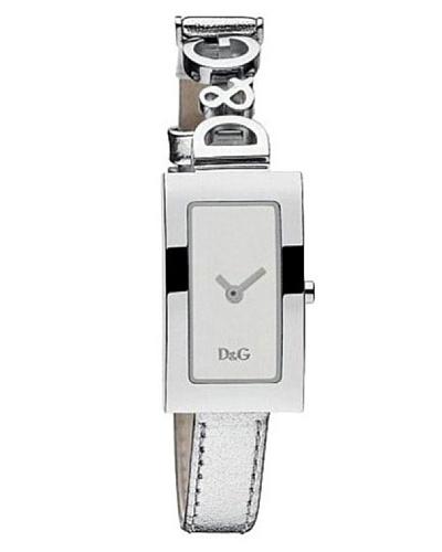 D&G Dolce&Gabbana DW0264 – Reloj analógico de mujer de cuarzo con correa de piel plateada – sumergible a 30 metros