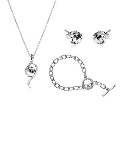 Diamond Style Juego pendientes, pulsera y colgante ondas
