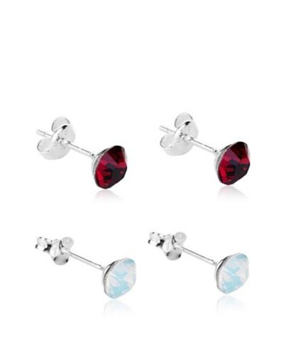 Diamond Style 2 Sets Pendientes Rojo / Blanco