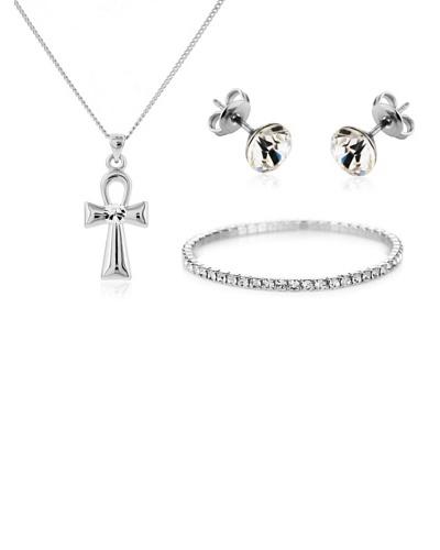 Diamond Style Juego pendientes, brazalete y colgante cruz