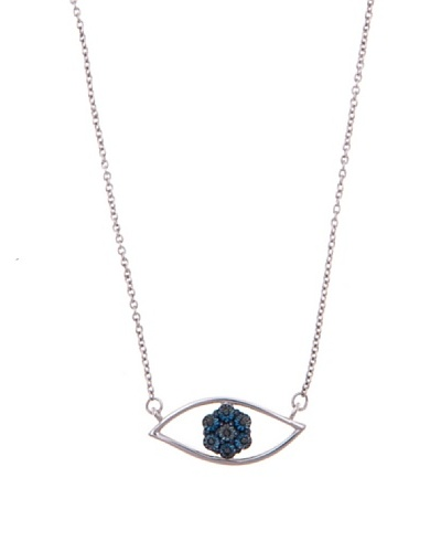 Diamonds by MK Colgante «Ojo» De Oro Blanco 9 ct y Diamantes Azules y Cadena De Plata
