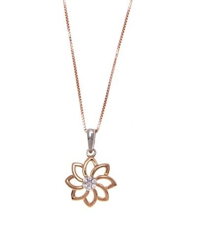 Diamonds by MK Colgante Oro Rosa De 9 Quilates Y Diamantes Con Cadena Plata