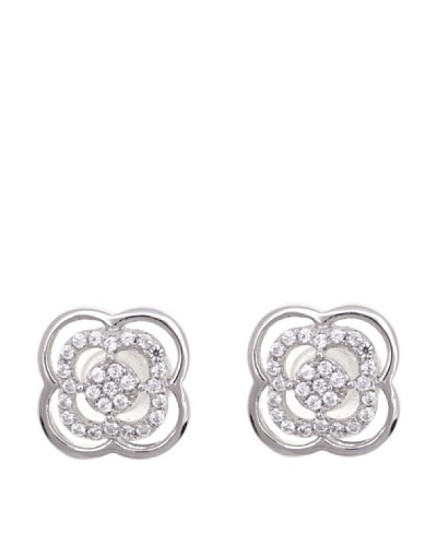 Diamonds by MK Pendientes Flor Oro Blanco 9 ct y Diamantes