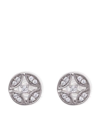 Diamonds by MK Pendientes Redondos Oro Blanco 9 ct y Diamantes