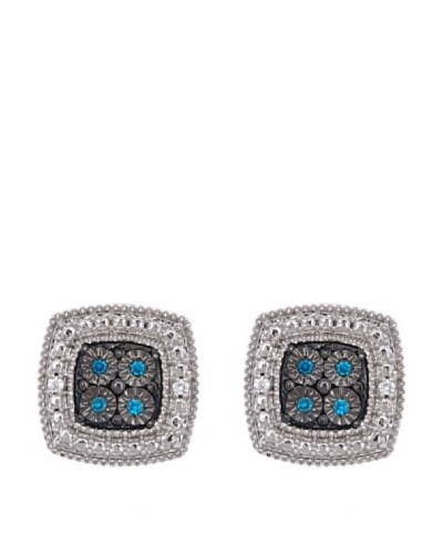 Diamonds by MK Pendientes «Cuadrados» Oro Blanco 9 ct y Diamantes Azules