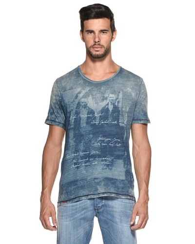 Diesel Camiseta Fauno Azul Washed