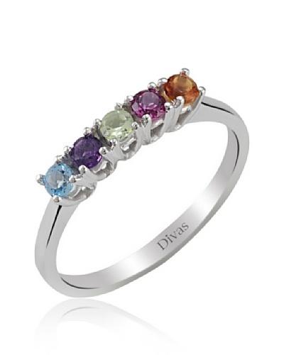 Divas Diamante Anillo Piedras Preciosas Coloridas
