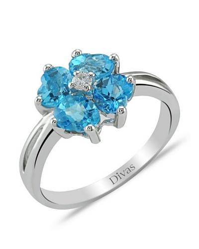 Divas Diamond Anillo Diamante Topacio Azul