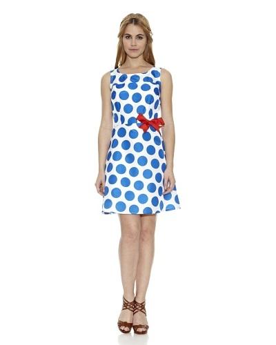 Divina Providencia Vestido Miyake Azul / Blanco
