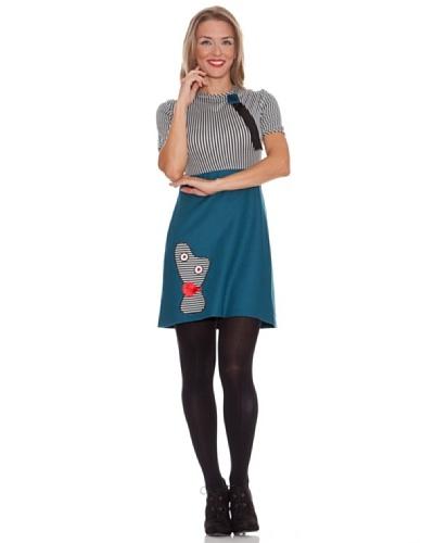 Divina Providencia Vestido Momo Azul