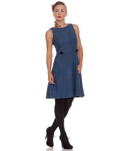 Divina Providencia Vestido Liso Azul