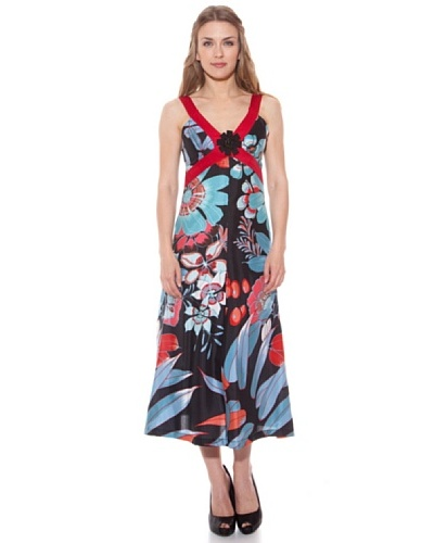 Divina Providencia Vestido De Seda Flores Turquesa