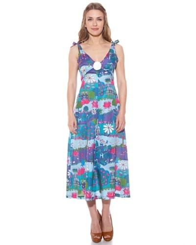 Divina Providencia Vestido De Seda Azul