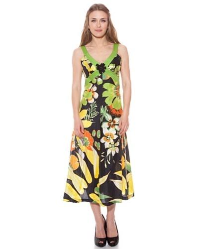 Divina Providencia Vestido De Seda Flores Amarillo