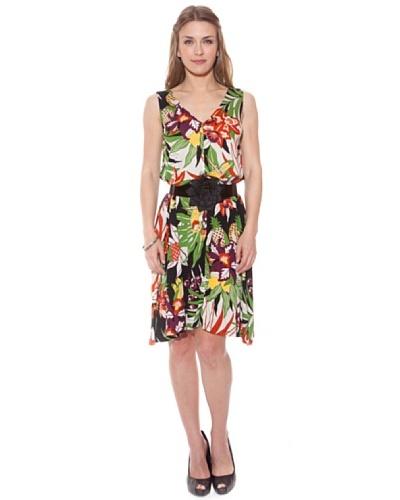 Divina Providencia Vestido Tropical Cinturón Multicolor