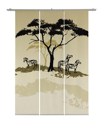 Emotiontextiles Set de tres paneles chinos árbol y cebras Beige
