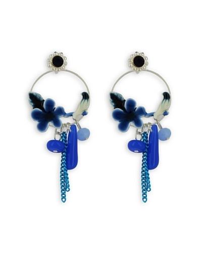 Fashion Victime Pendientes plumas azul