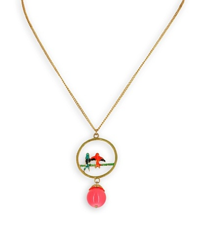 Fashion Victime Cadena y colgante Pájaros rosa