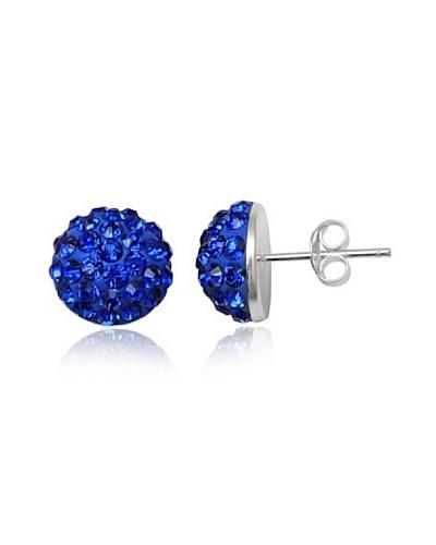 Fashion Victime Pendientes bolas planas Swaroski azul