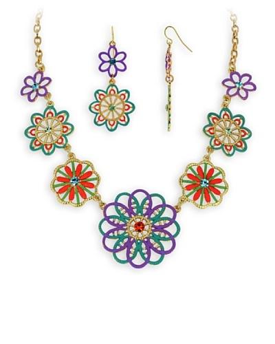 Fashion Victime Conjunto collar y pedientes Flores multicolor