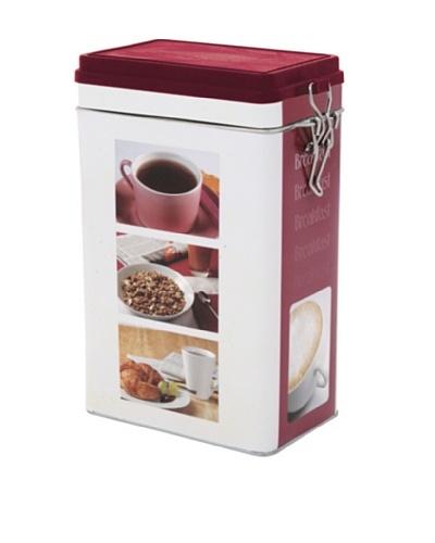 Faveco Bote Metálico Para Café Rectangular Cierre Hermético, Motivo Desayuno, 500 g