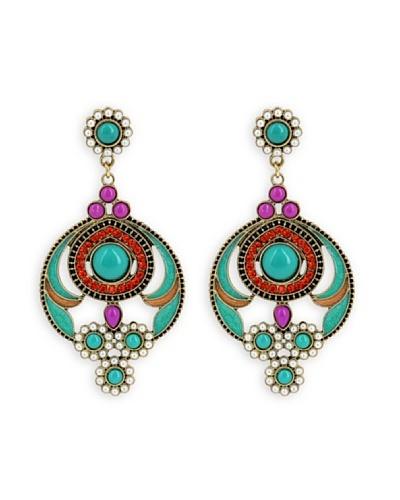 Frou Frou Bijoux Pendientes Peacok Turquesa / Violeta / Rojo