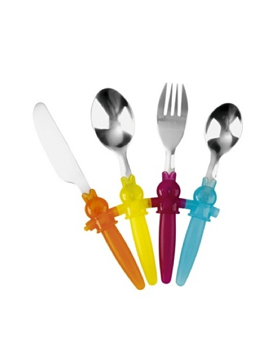 Gimel Set De 4 Cubiertos Inox Infantiles Con Mango De Plástico