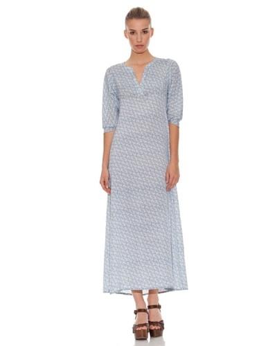 Hakei Vestido Largo Print Azul