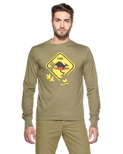 Hot Buttered Camiseta Puzzle Verde Oliva