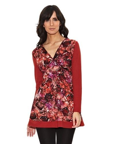 Janis Camiseta Larga Estampada Rojo
