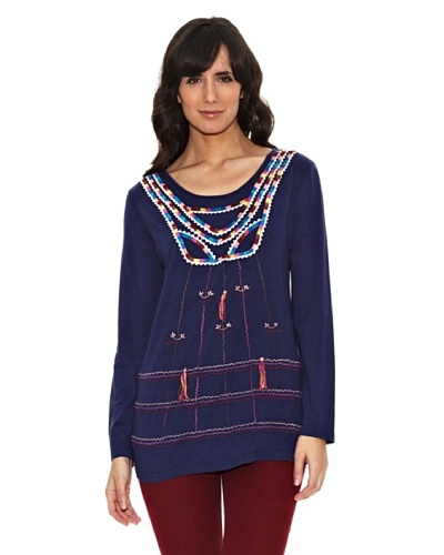 Janis Camiseta Bordados Multicolor Azul Marino